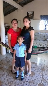 Glenda, Hady, and Tania at their house in El Amate. Tania is Glenda's daughter, but because she is in school, Aunt Estella (pictured in the larger photo in this post) and Uncle Freddy care for her. Hady is Glenda's older sister and is a teacher at the El Amate school, which goes up to 6th grade.